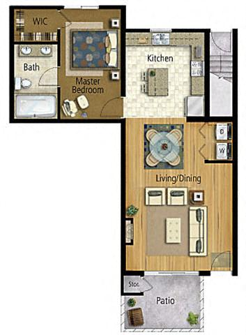 Floor Plan  Taiko Village 1Bed 1Bath Floor Plan