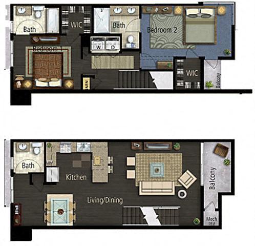 Floor Plan  Taiko Village 2Bed 2.5Bath Floor Plan