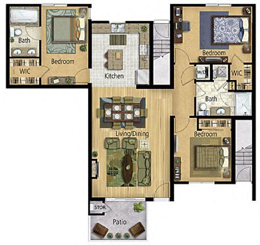 Floor Plan  Taiko Village 3Bed 2Bath Floor Plan