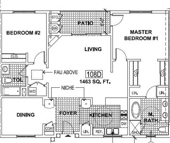 Floor Plan  2 Bedroom 2 Bath/Den