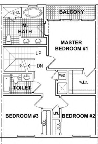 Floor Plan  3 Bedroom 2 Bath TH