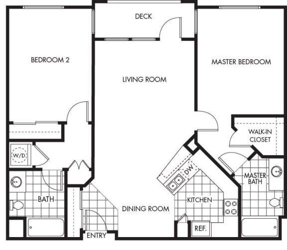 Floor Plan  Horizons at Calabasas 2Bed 2Bath Plan C Floorplan