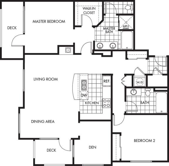Floor Plan  Horizons at Calabasas 2Bed 2Bath + Den Plan F Floorplan