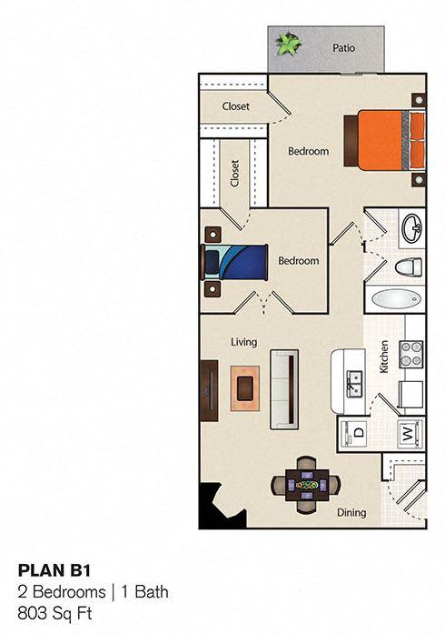 Floor Plan  Soho Apartments 2 Bedroom 1 Bathroom floor plan