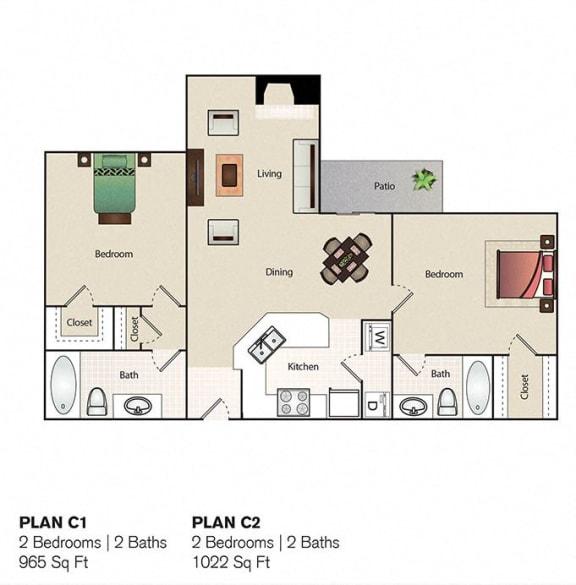 Floor Plan  Soho Apartments 2 Bedroom 2 Bathroom floor plan