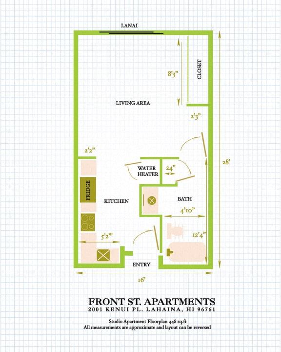Floor Plan  Front Street Apartments studio floor plan