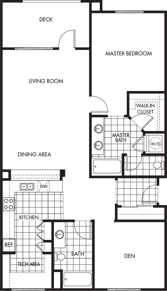 Floor Plan  Horizons at Calabasas 1Bed 2Bath + Den Plan D Floorplan