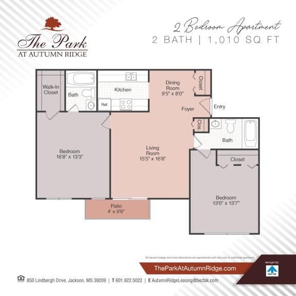 Two Bedroom Floor Plan at The Park at Autumn Ridge, Jackson, 39209