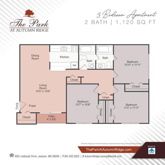Three Bedroom Floor Plan at The Park at Autumn Ridge, Jackson, Mississippi