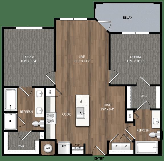 b2 floor plan in midland tx apartments