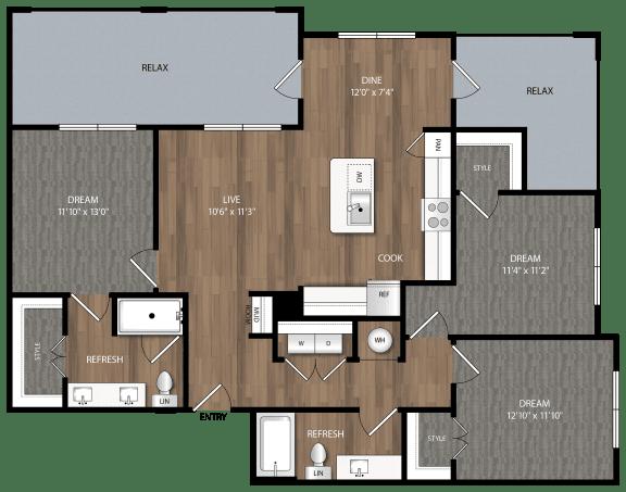 c1 floor plan in midland tx apartments