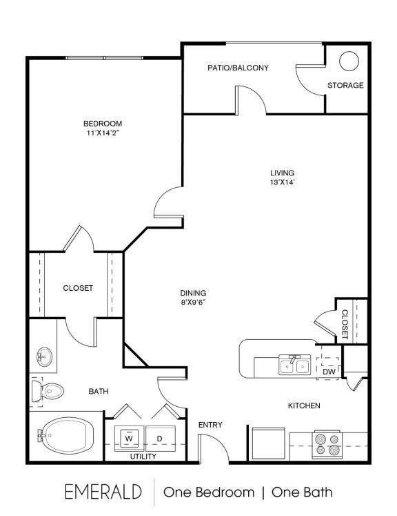 A2C Floor Plan at Elan Apartment Homes, Austin