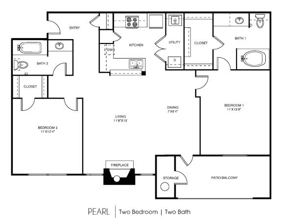 B2C Floor Plan at Elan Apartment Homes, Austin, TX, 78750