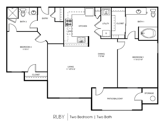 B1C Floor Plan at Elan Apartment Homes, Texas, 78750