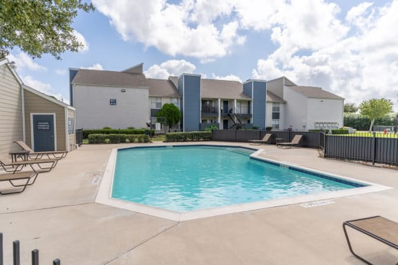 sparking pool in our pearland texas apartment community