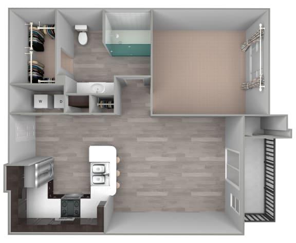 Floor Plan  A1 One bedroom, one bath