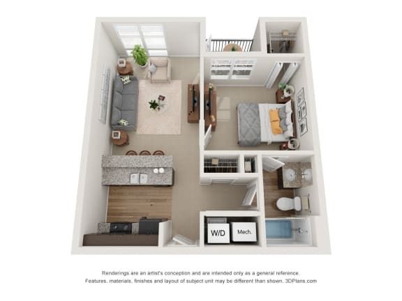 Floor Plan  Colton Floor Plan at 310 @ Nulu Apartments, Louisville, KY