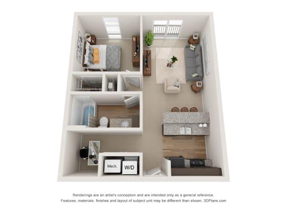 Floor Plan  Fox Floor Plan at 310 @ Nulu Apartments, Louisville, Kentucky