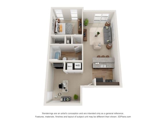 Floor Plan  Traub Floor Plan at 310 @ Nulu Apartments, Louisville