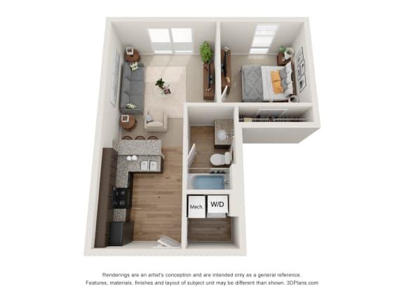 Floor Plan  Conwill Floor Plan at 310 @ Nulu Apartments, Kentucky