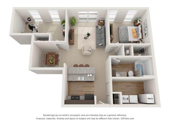 Floor Plan  Thompson Floor Plan at 310 @ Nulu Apartments, Kentucky, 40202