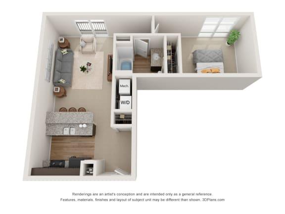 Floor Plan  Hite Floor Plan at 310 @ Nulu Apartments, Louisville, KY, 40202
