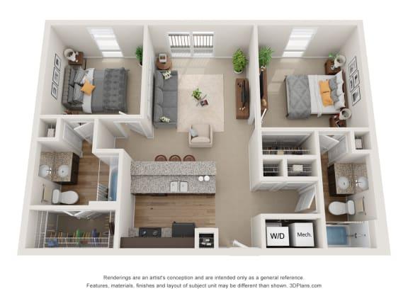 Floor Plan  Holmes Floor Plan at 310 @ Nulu Apartments, Louisville, KY