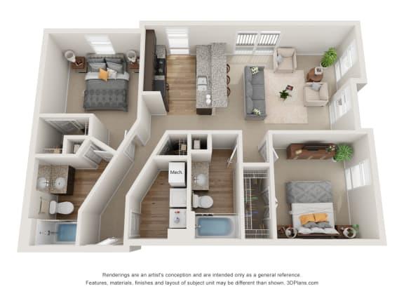 Floor Plan  Hutchings Floor Plan at 310 @ Nulu Apartments, Louisville, 40202