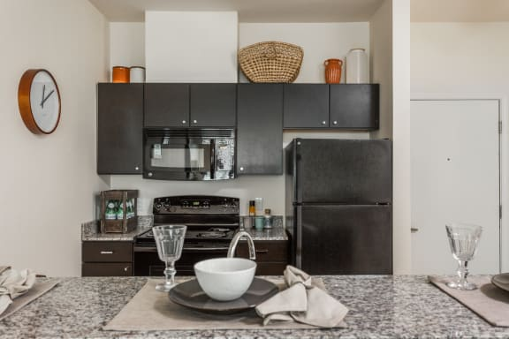 Fully Equipped Kitchens with Sleek Black Appliances at 310 @ Nulu Apartments, Louisville, 40202