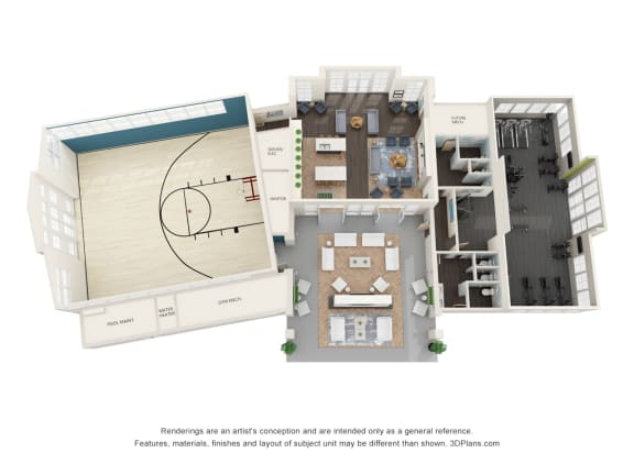 Amenity Center plan aerial View at Whetstone Flats, Nashville, Tennessee