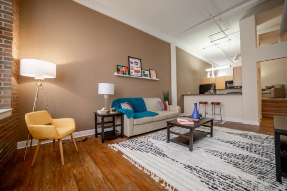 Gorgeous Living Room at Harness Factory Lofts, Managed by Buckingham Urban Living, Indianapolis
