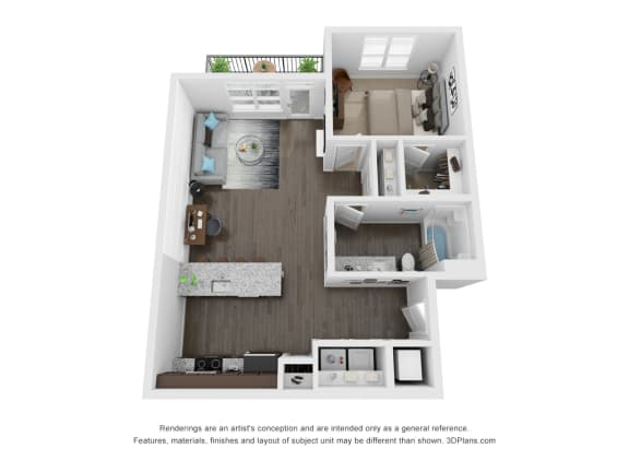 Seager 1 Bed 1 Bath Floor Plan at The Century at Purdue Research Park, Indiana