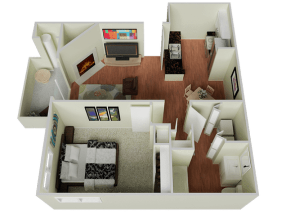 Floor Plan  One bedroom Floor Plan l The Edge Apartments in Davis, CA