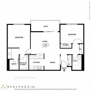 2 Bed 2 Bath 900 square feet floor plan C