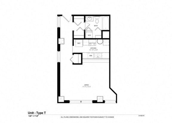 Studio |507 sq ft floorplan at Cosmopolitan Apartments, Minnesota