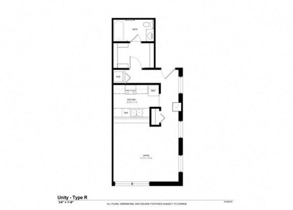 Studio Floor Plan at Cosmopolitan Apartments, Saint Paul, Minnesota