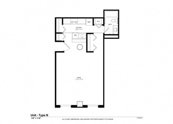 0 Bed 1 Bath Floor Plan at Cosmopolitan Apartments, Saint Paul