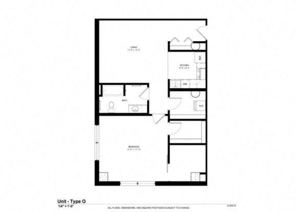 One Bedroom Lofts Floor Plan at Cosmopolitan Apartments, Saint Paul, MN, 55101