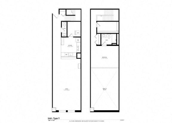 1 Bed - 1 Bath |1290 sq ft floorplan at Cosmopolitan Apartments, Minnesota, 55101
