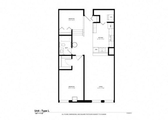 One Bedroom with Den Floor Plan at Cosmopolitan Apartments, Saint Paul, 55101
