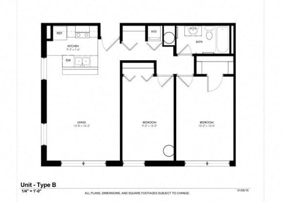 Two Bedroom One Bathroom Floor Plan at Cosmopolitan Apartments, Minnesota, 55101