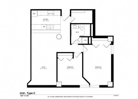 2 Bedroom 1 Bath Floor Plan at Cosmopolitan Apartments, Saint Paul, 55101
