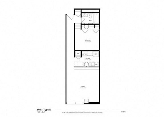 1 Bedroom Platform Floor Plan at Cosmopolitan Apartments, Saint Paul, MN, 55101