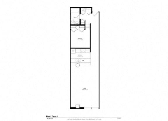 1 Bedroom 1 Bathroom Platform Floor Plan at Cosmopolitan Apartments, Saint Paul, MN