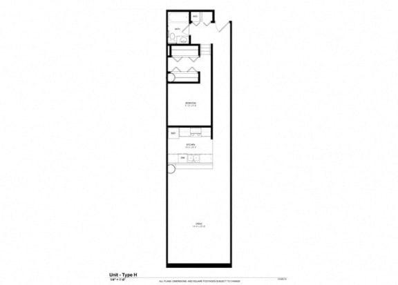 1 Bedroom 1 Bath Platform Floor Plan at Cosmopolitan Apartments, Saint Paul, 55101