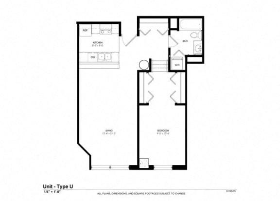 One Bed One Bath Platform Floor Plan at Cosmopolitan Apartments, Minnesota, 55101