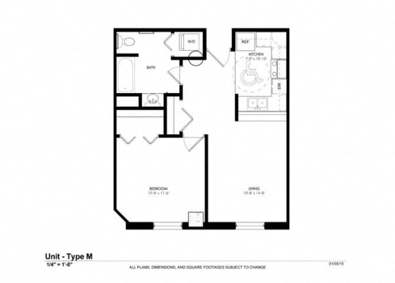 1 Bedroom 1 Bathroom Floor Plan at Cosmopolitan Apartments, Saint Paul