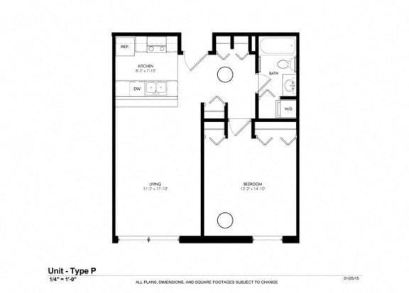 1 Bedroom 1 Bath Floor Plan at Cosmopolitan Apartments, Saint Paul, Minnesota