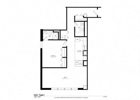 One bedroom One bathroom Floor Plan at Cosmopolitan Apartments, Saint Paul, Minnesota