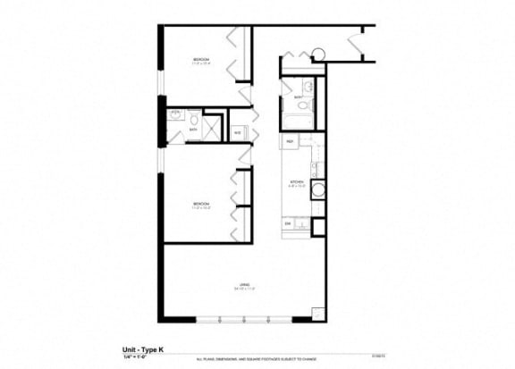 Two Bed Two Bath Floor Plan at Cosmopolitan Apartments, Minnesota
